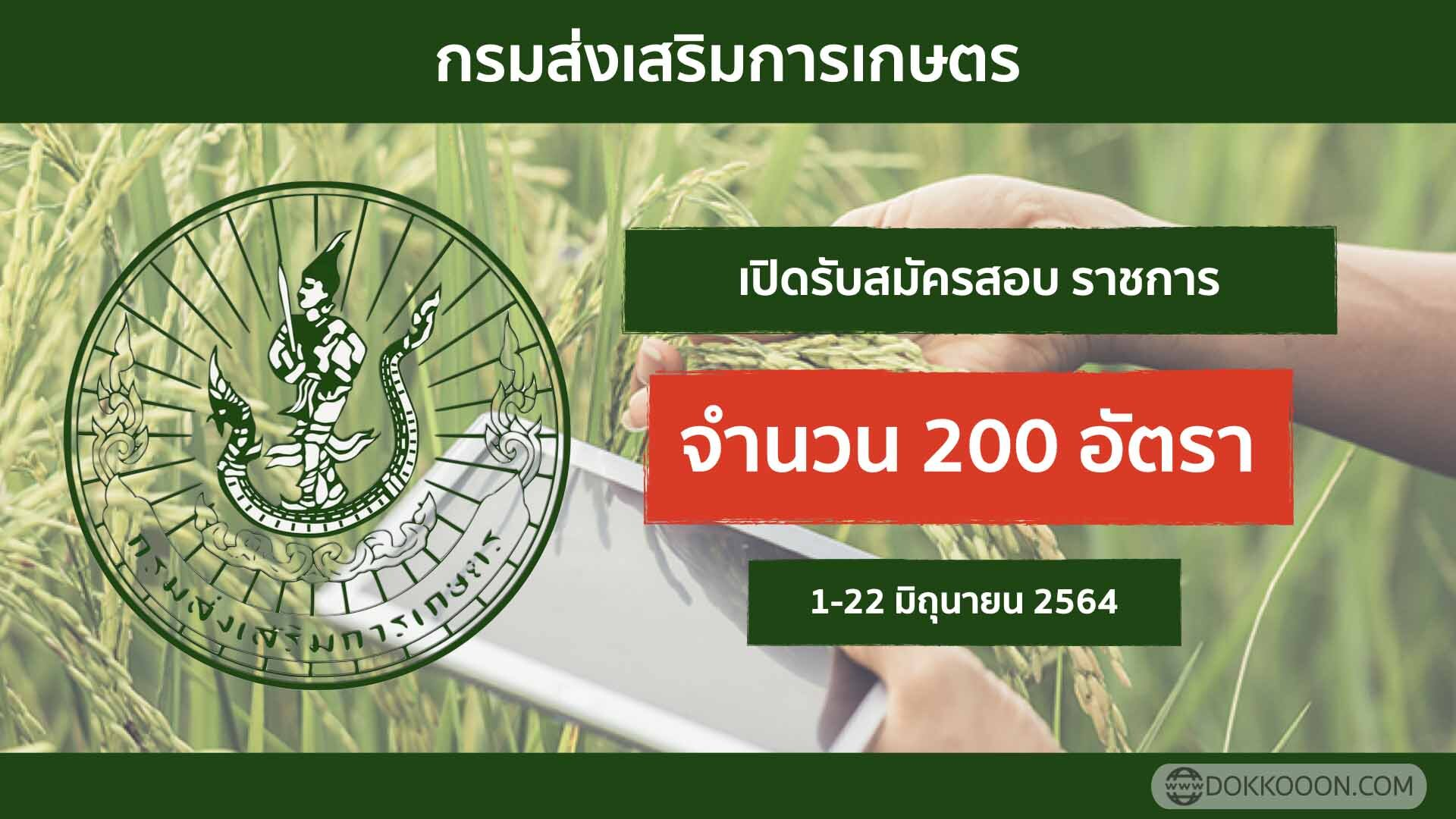 กรมส่งเสริมการเกษตร รับสมัครสอบรับราชการ 2564 จำนวน 200 อัตรา