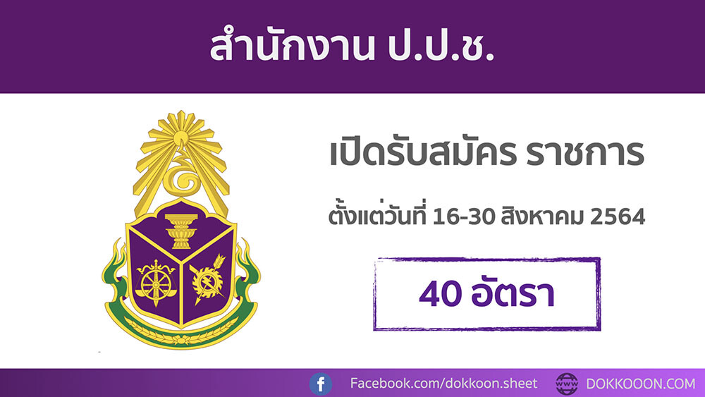 สำนักงาน ป.ป.ช. ประกาศรับสมัครสอบบรรจุเข้ารับราชการ 40 อัตรา